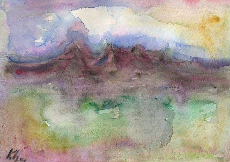 ngonghills II watercolour painting - karen shear