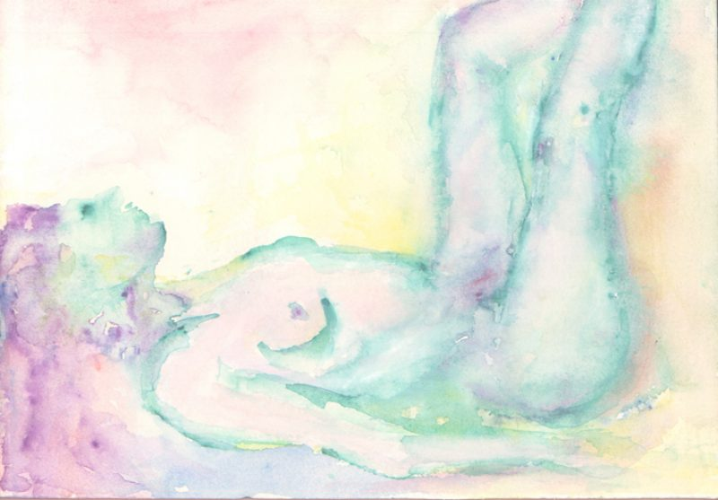 nude reclining watercolour painting karen shear art