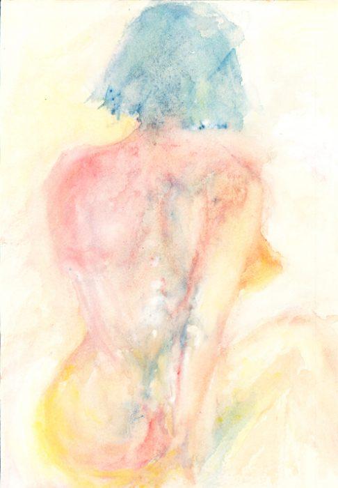 nudeback watercolour painting karen shear art