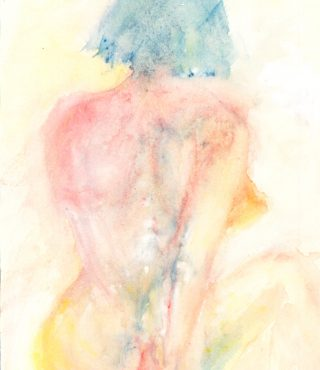 nudeback watercolour painting karen shear art