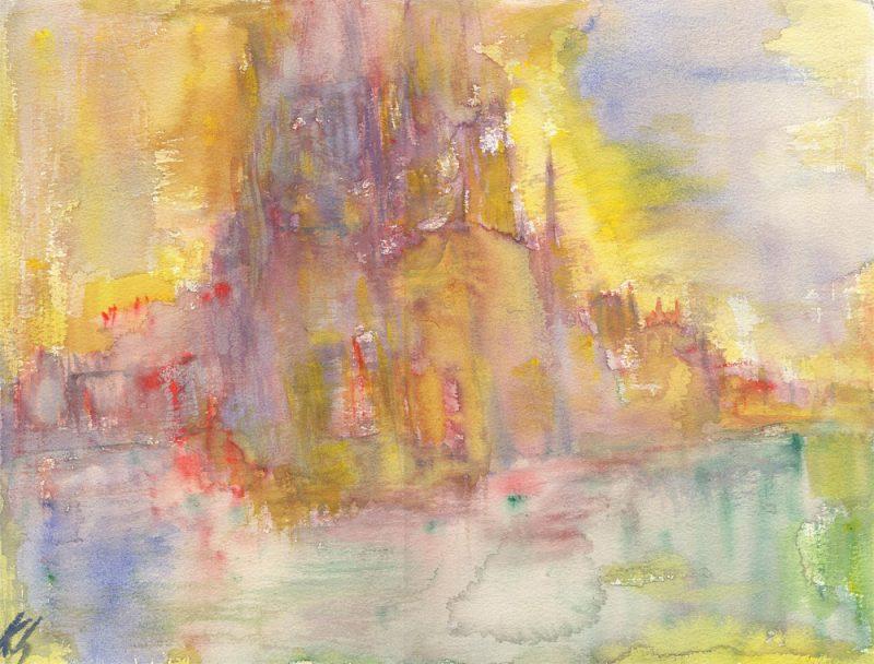 paris castle dreaming watercolour painting karen shear