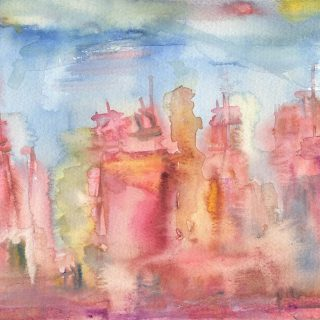 paris rooftops watercolour painting karen shear