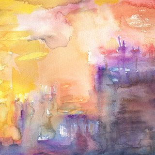 paris sunset watercolour painting karen shear