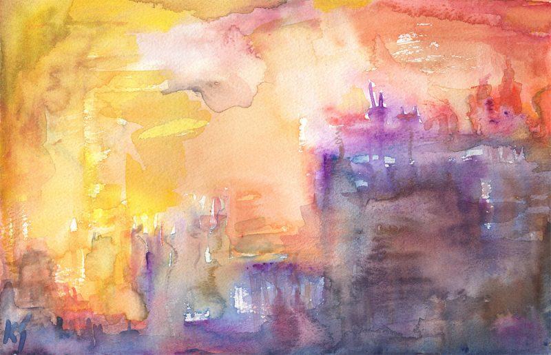 paris sunset watercolour painting karen shear