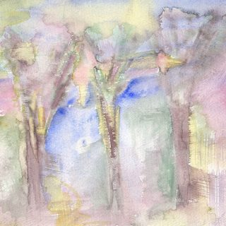 paris trees watercolour painting karen shear