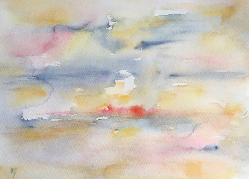 sunsrise with white moon watercolour painting karen shear