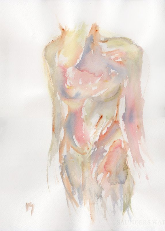 inside out nude watercolour painting
